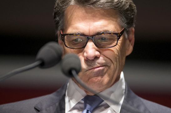 Former Republican Governor of Texas Rick Perry speaks during the Freedom Summit in Greenville, South Carolina May 9, 2015. REUTERS/Chris Keane - RTX1C961